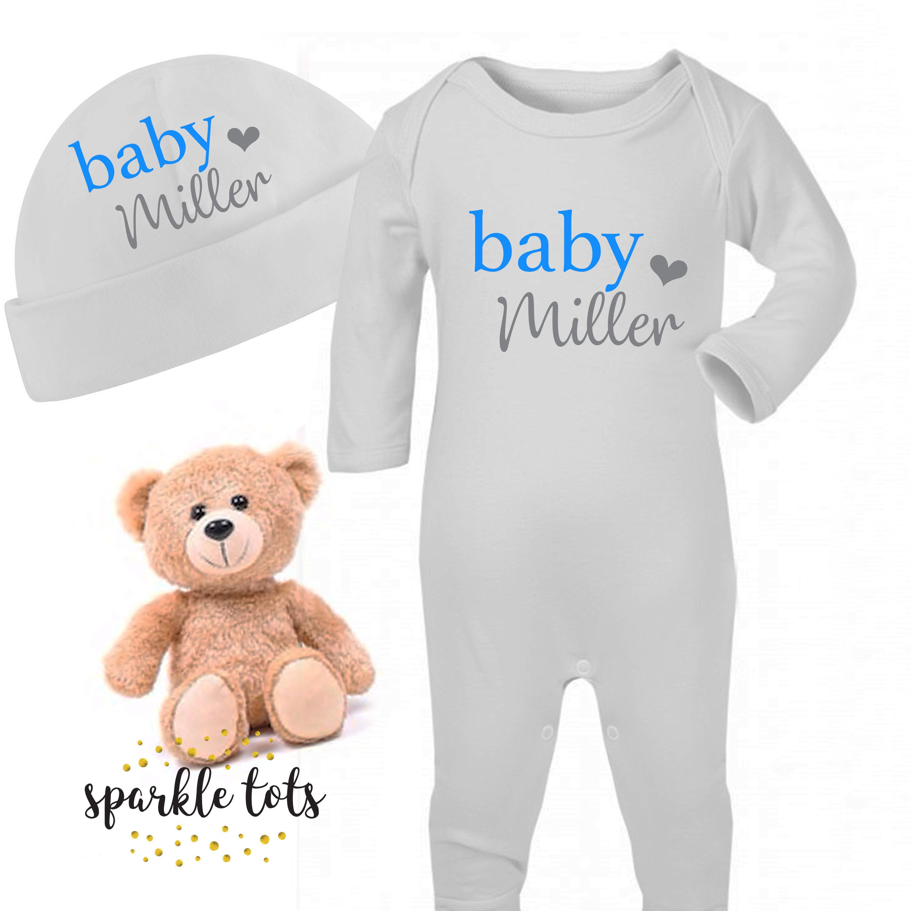 Personalised Baby Bear Sleepsuit and Hat Set Newborn Baby Gifts Unisex Baby Outfits