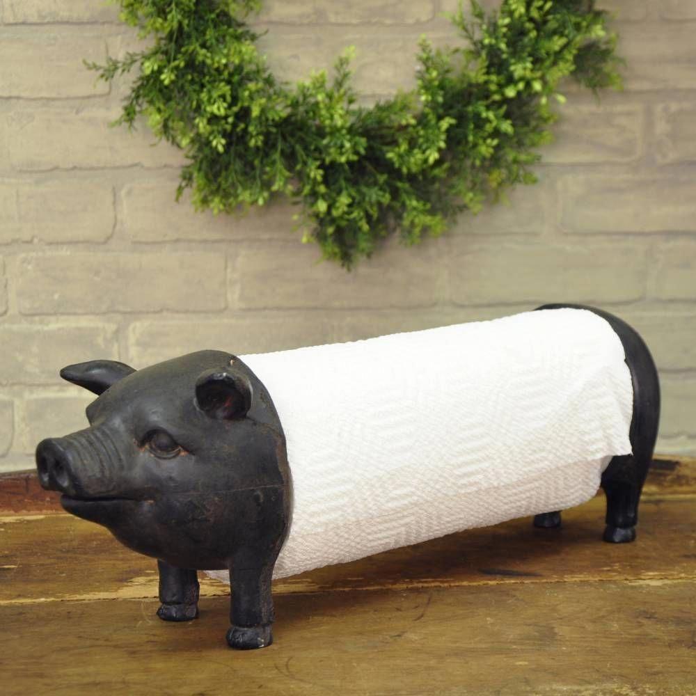 Towel Holder Pig Cast Iron Pig Head Towel Holder Vintage Kitchen Deco