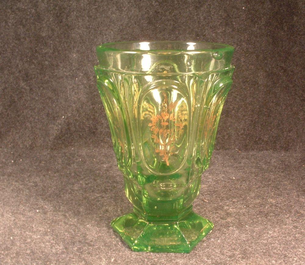 Vintage 1850 boston sandwich glass vaseline glass gold gilded vintage 1850 boston sandwich glass vaseline glass gold gilded spills vase reviewsmspy