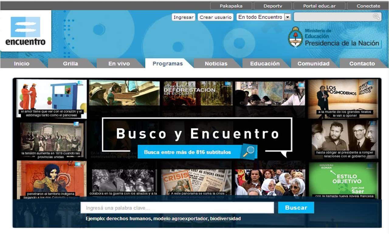 """Canal Encuentro, la señal del Ministerio de Educación, presenta una novedosa herramienta denominada """"Busco y Encuentro"""", un buscador que tiene como finalidad facilitarle a los docentes y estudiantes la exploración de contenidos audiovisuales dentro de la web de Encuentro para incorporarlos a las clases."""