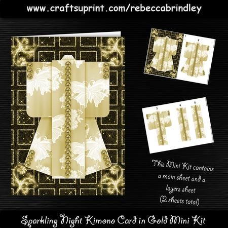 Sparkling Night Kimono Card in Gold Mini Kit on Craftsuprint designed by Rebecca Brindley - This Kimono Card design is super simple to create and looks great for just about any occasion.This is one of a large collection of Kimono Card designs by me, each design is offered in A6, A5 Mini Kit (2 sheets) and A4 sizes. There are also various colour choices for each design. If you would like any of these other options please click on my name (above) and type 'Sparkling Night Kimono Card in Gold'…