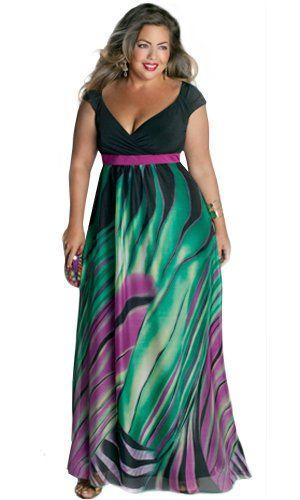 f8b77ff68a2 Amazon.com  IGIGI by Yuliya Raquel Plus Size Rainforest Paradise Maxi Dress   Yuliya Raquel  Clothing