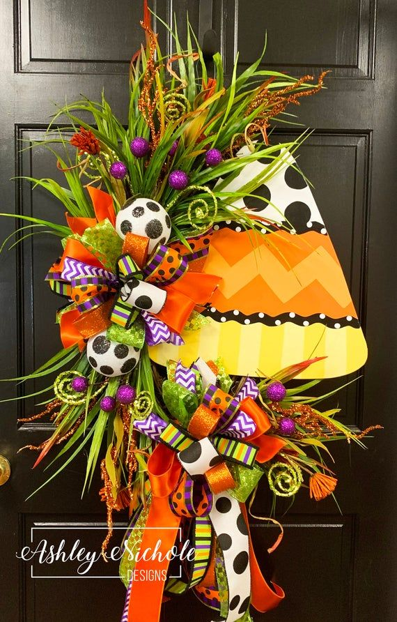 Candy Corn Oval Wreath, Door Decoration, Fall Wreath