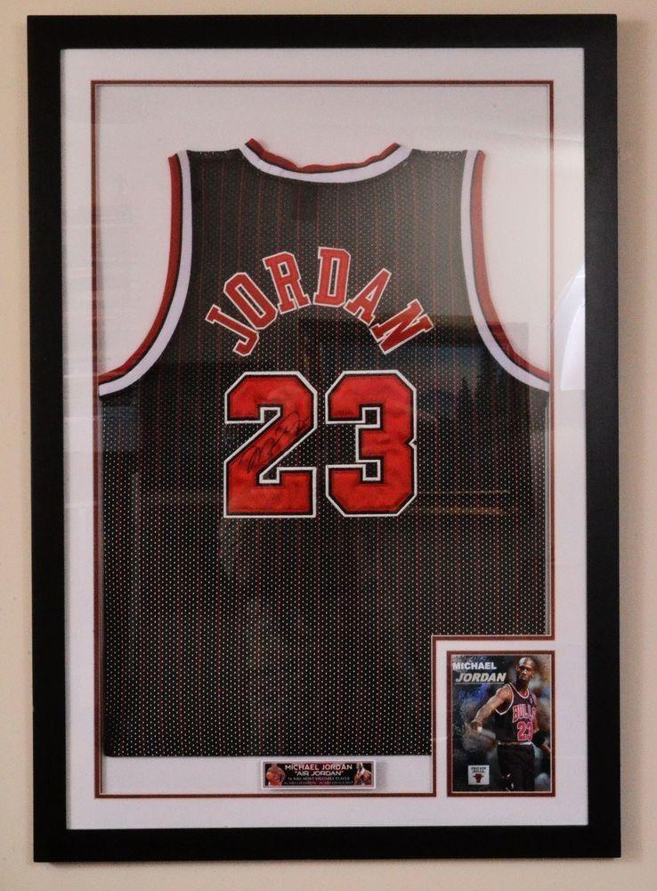 ada9a23a79ad5 MICHAEL JORDAN Signed RARE Black Pinstripe CHICAGO BULLS Framed ...