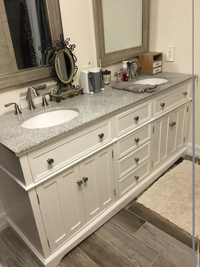 Home Decorators Collection Fremont 72 In W X 22 In D Double Bath Vanity In White With Granite Vanity Top In Grey 2943900410 The Home Depot Granite Vanity Tops Bathroom Vanity Tops Rustic Bathrooms