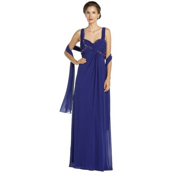 LM Collection Purple beaded sweetheart neck gown with shawl (64 AUD) ❤ liked on Polyvore featuring dresses, gowns, purple, long purple dress, blue gown, long evening gowns, purple evening gowns and purple ball gowns
