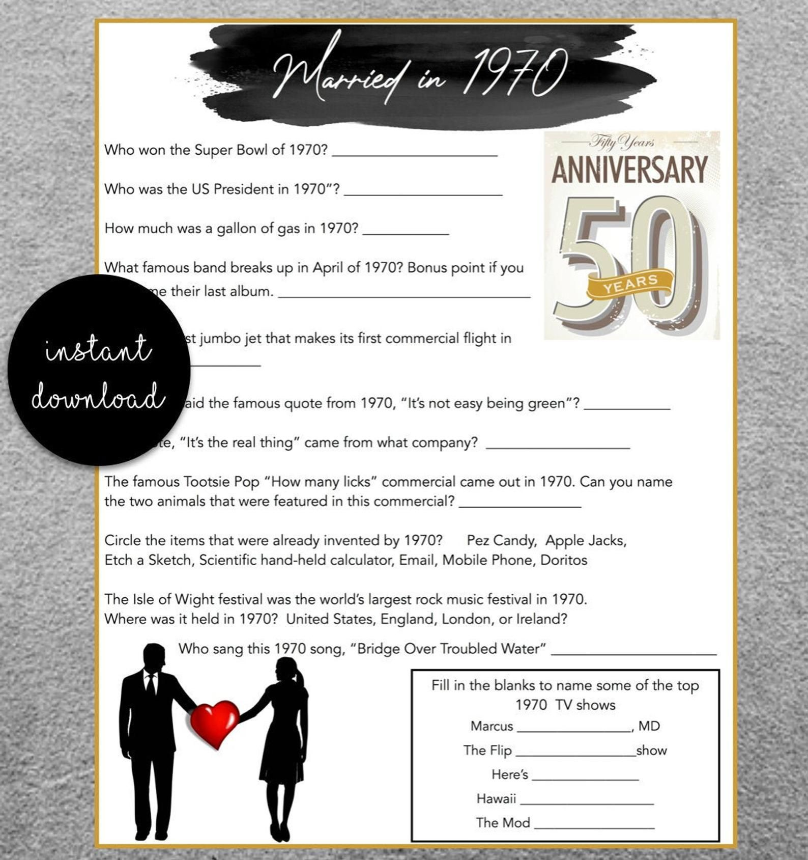 50th Wedding Anniversary Party Game Questions From 1970 In 2020 50th Wedding Anniversary Party Wedding Anniversary Party Games Anniversary Party Games