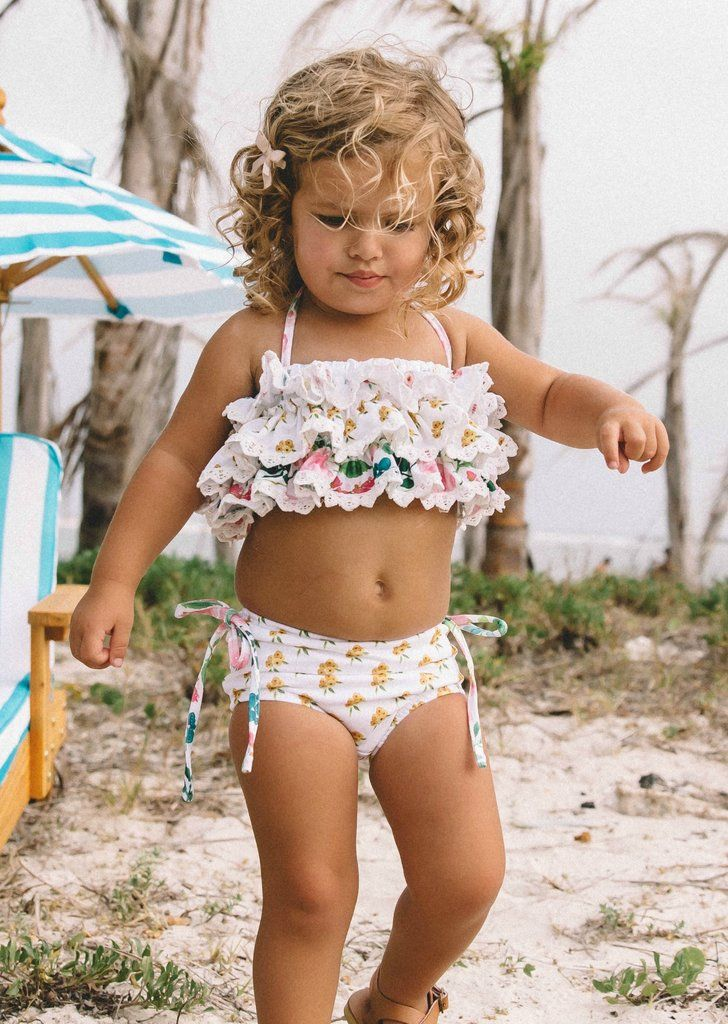 Newmao Infant Girls Swimsuit Cartoon Printed Mesh Patchwork Summer Swimwear