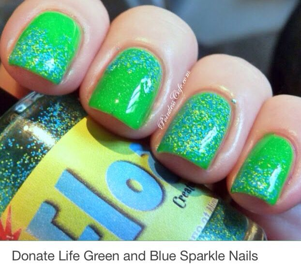 Donate Life Green and Blue nail Design- show colors n support Organ ...