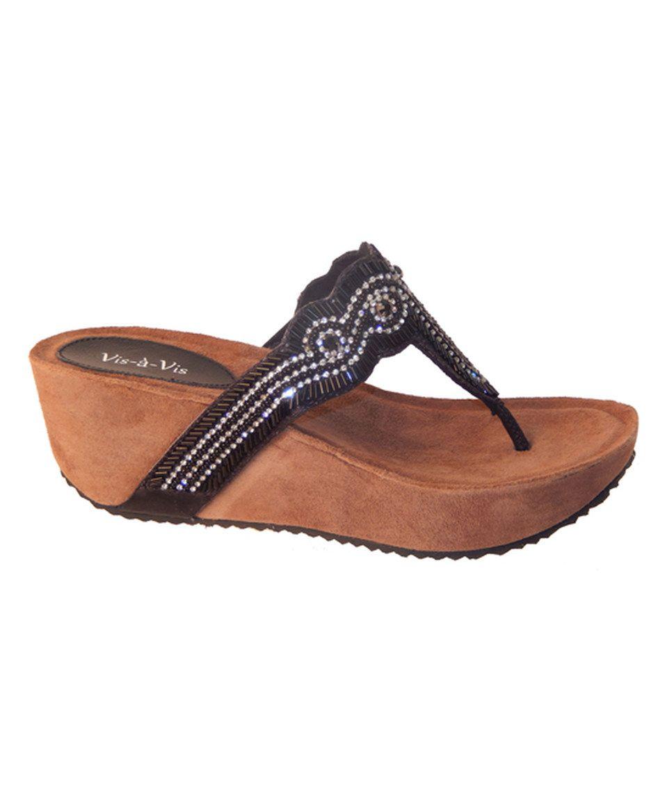 Look at this #zulilyfind! Vis-À-Vis Black Josie Suede Platform Sandal by Vis-À-Vis #zulilyfinds