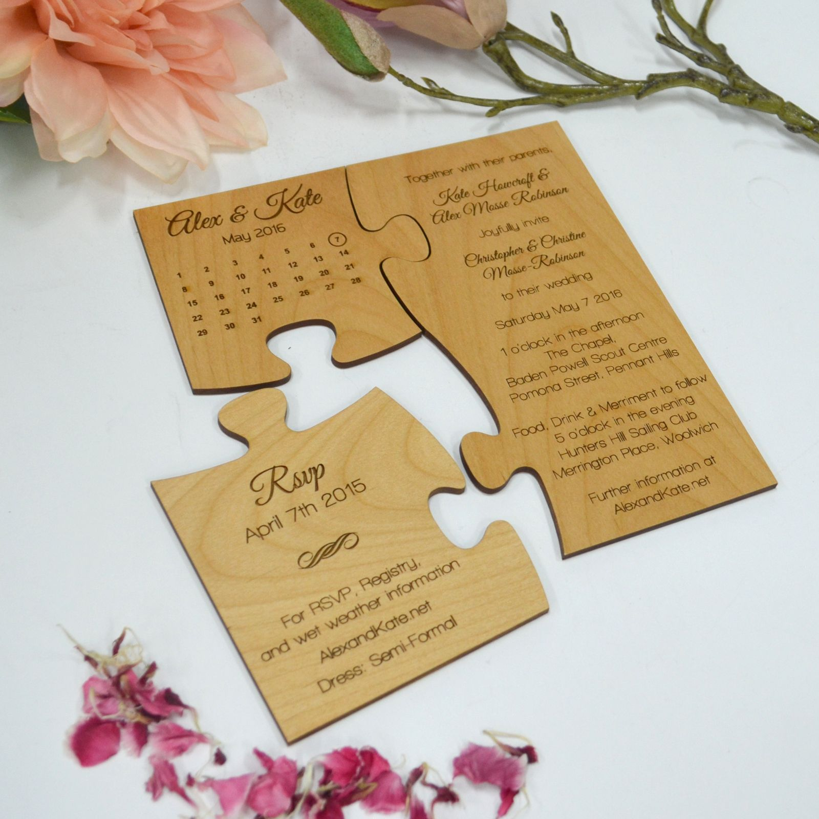 Limited Edition Engraved Wooden Puzzle Wedding Invitation With Save The Date