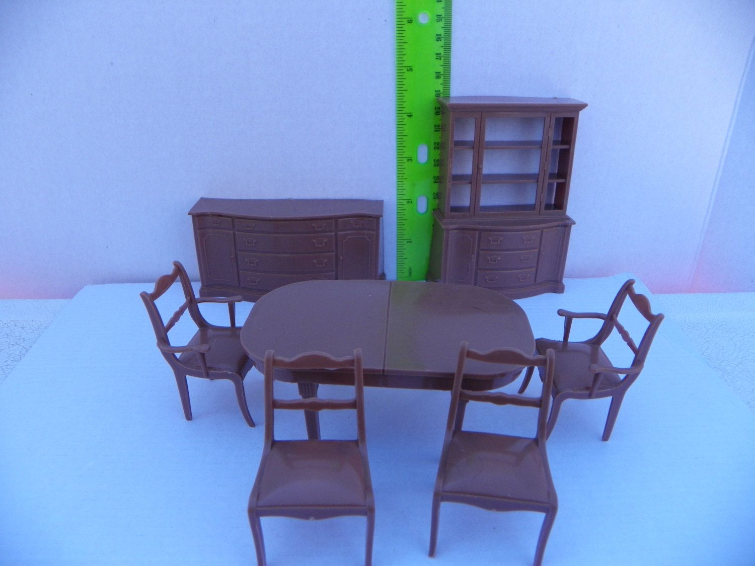Vintage Marx Dollhouse Dining Room Furniture 6 Piece Set Mansion Plastic Doll House