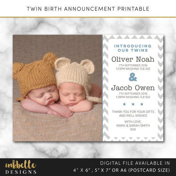 Twins birth announcement card, Digital File, PDF, DIY, baby thank