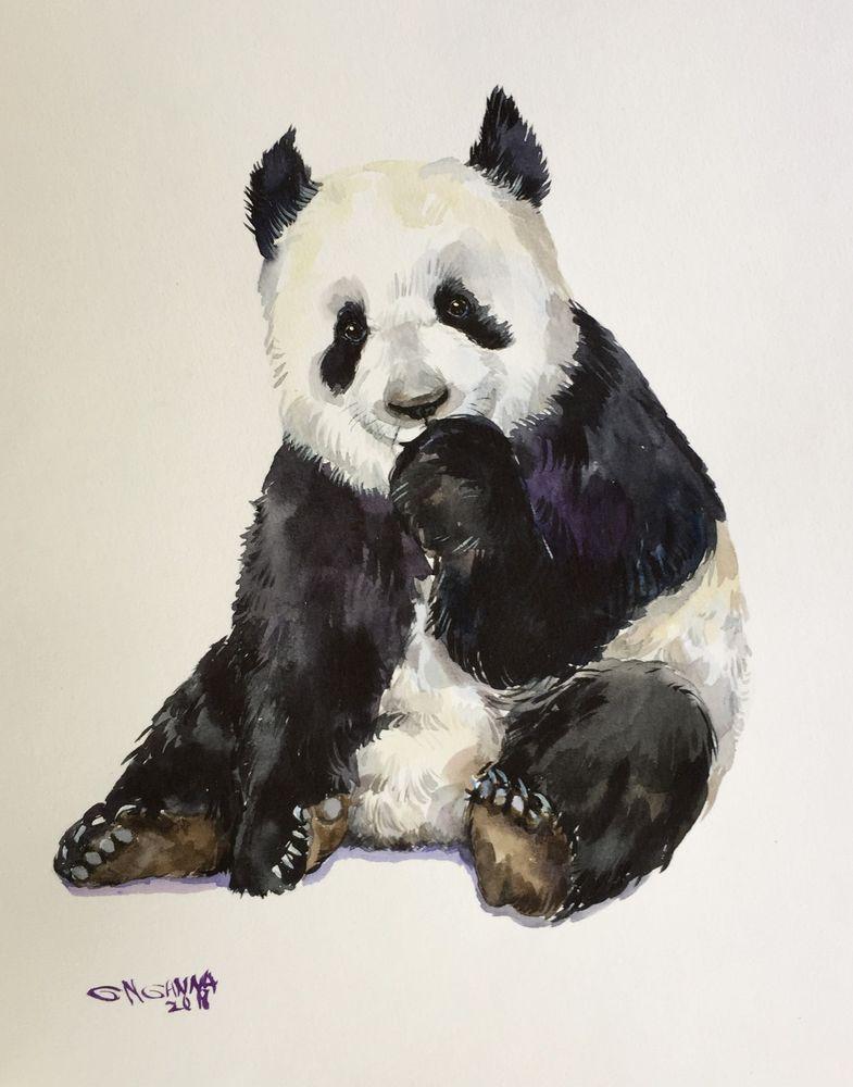 Giant Panda Bear Portrait Wildlife Animal Original Watercolor Painting Impressionism Bear Paintings Animal Drawings Drawings