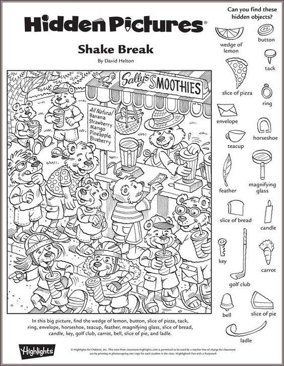 Shake Break hidden pictures puzzle Picture Puzzles Pinterest