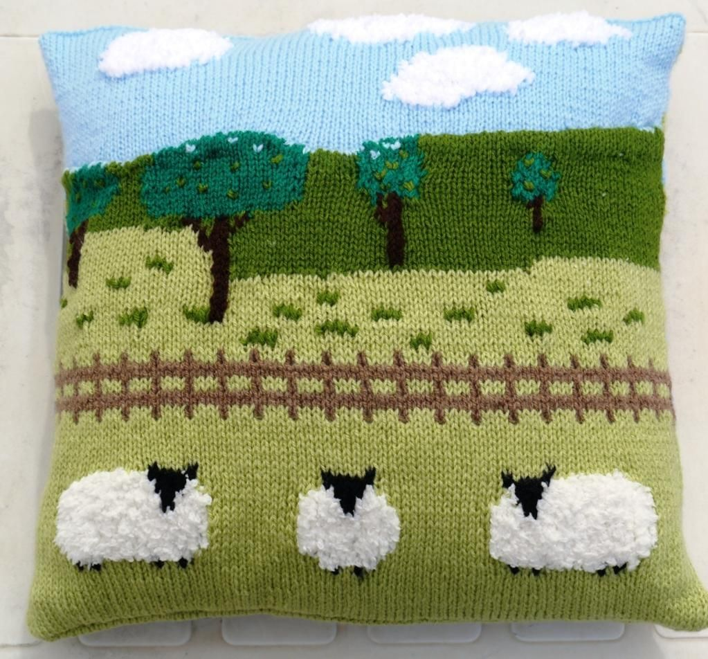 Sheep in the Countryside Cushion | Countryside, Knitting patterns ...