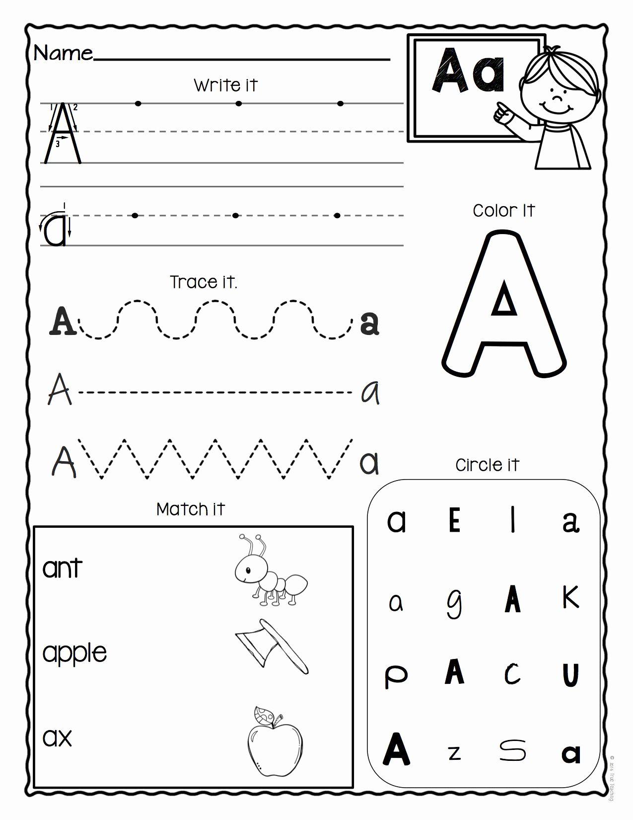 Preschool Letter Worksheets In