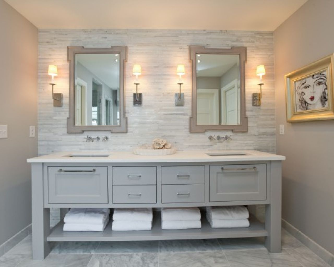 Bathroom, Great Bathroom Vanity White Quartz Countertop Marble
