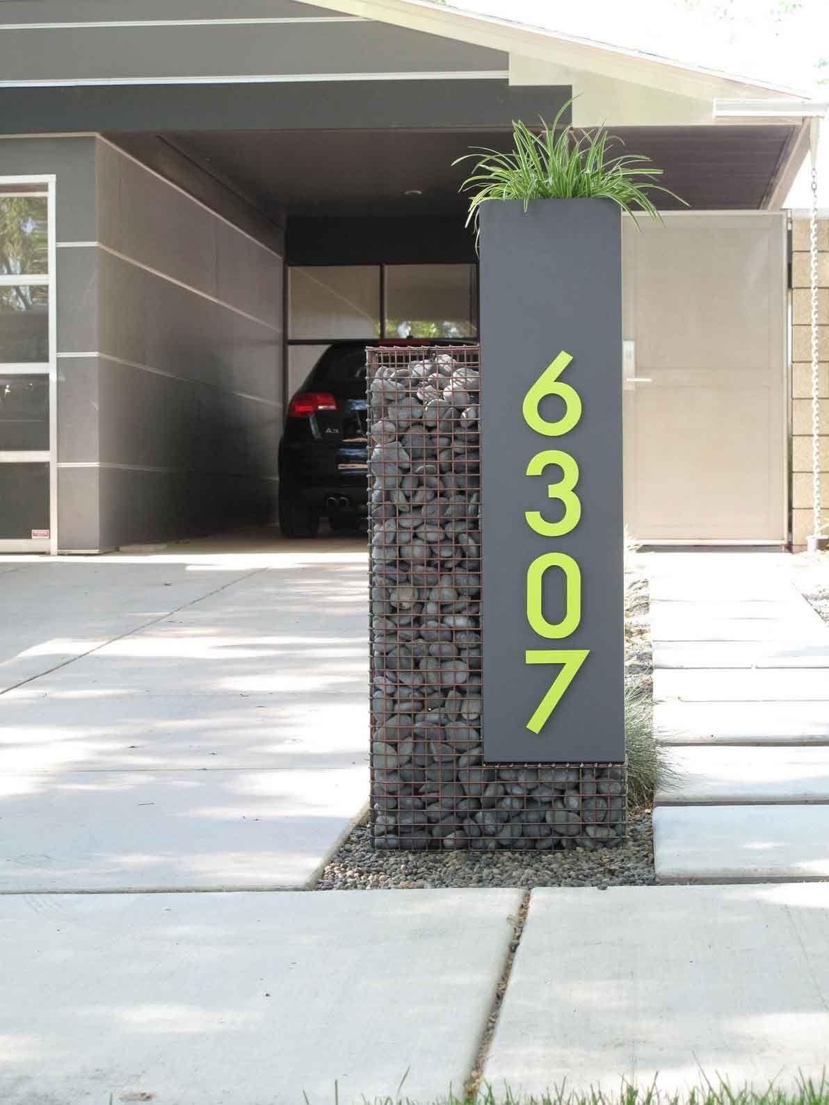 Unique House Number Ideas Unique House Numbers Gabion Stone Gabion Wall