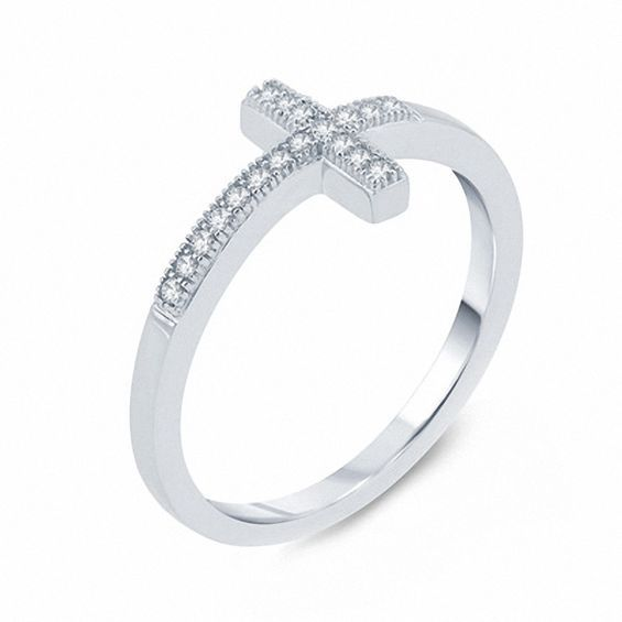 1 10 Ct T W Diamond Sideways Cross Ring In 10k White Gold White Gold Sideways Cross Diamond Stone