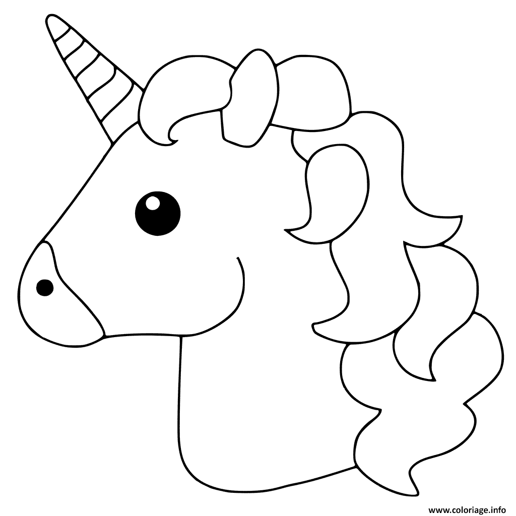 Coloriage Unicorn Emoji Dessin A Imprimer Emoji Emoji Coloring