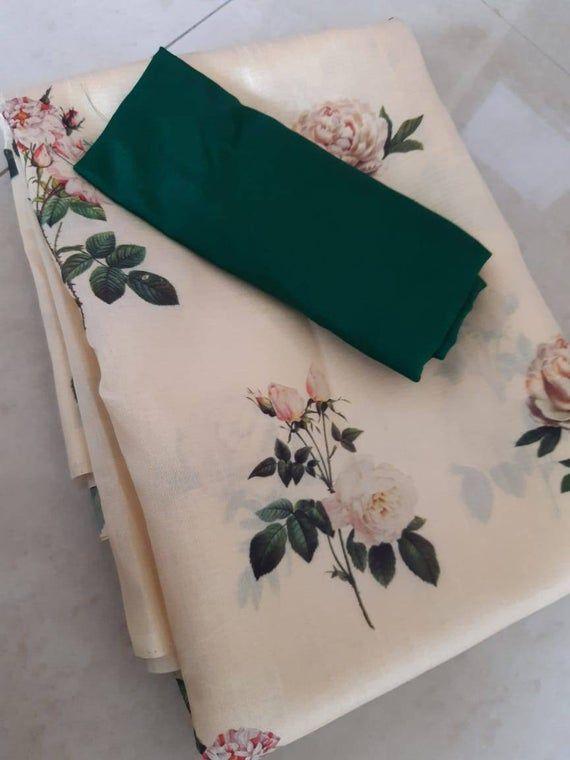 Photo of Soft silk saree with digital flower design / off-white saree / saree for women / Wedding saree / indian saree / saree blouse / saree