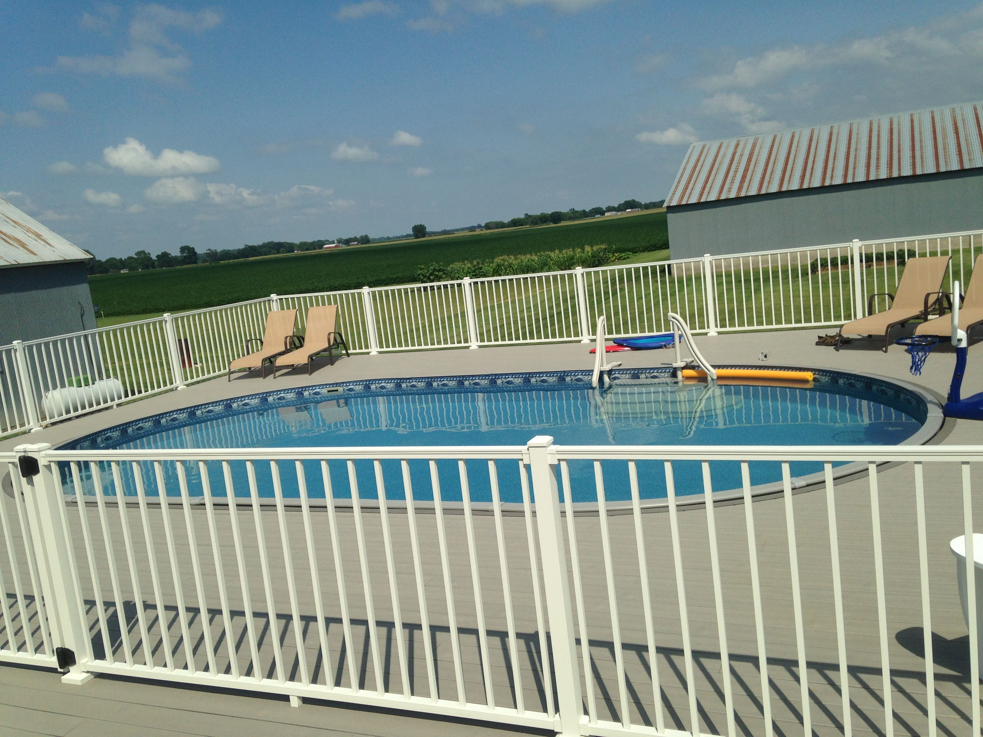 Radiant 16x28 aboveground oval with deck radiant pools for Above ground pool decks indianapolis
