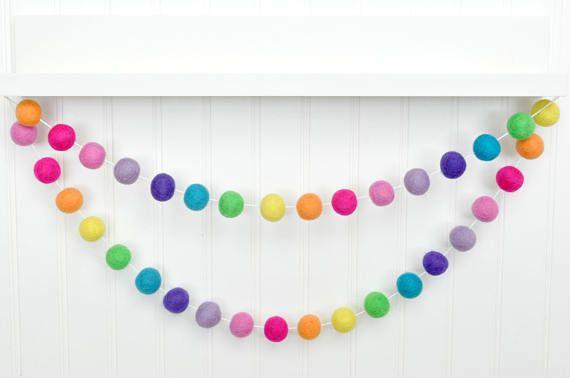 Nursery Decor 1 Wool Felt Ball Adjustable Pom Poms Birthday Party Decoration Purple Pom Pom Garland Bunting for Girl/'s Bedroom