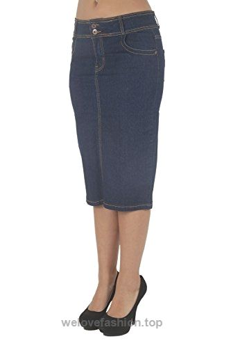 N923SKT – Women's Juniors Short Knee Length Midi Pencil Stretch ...