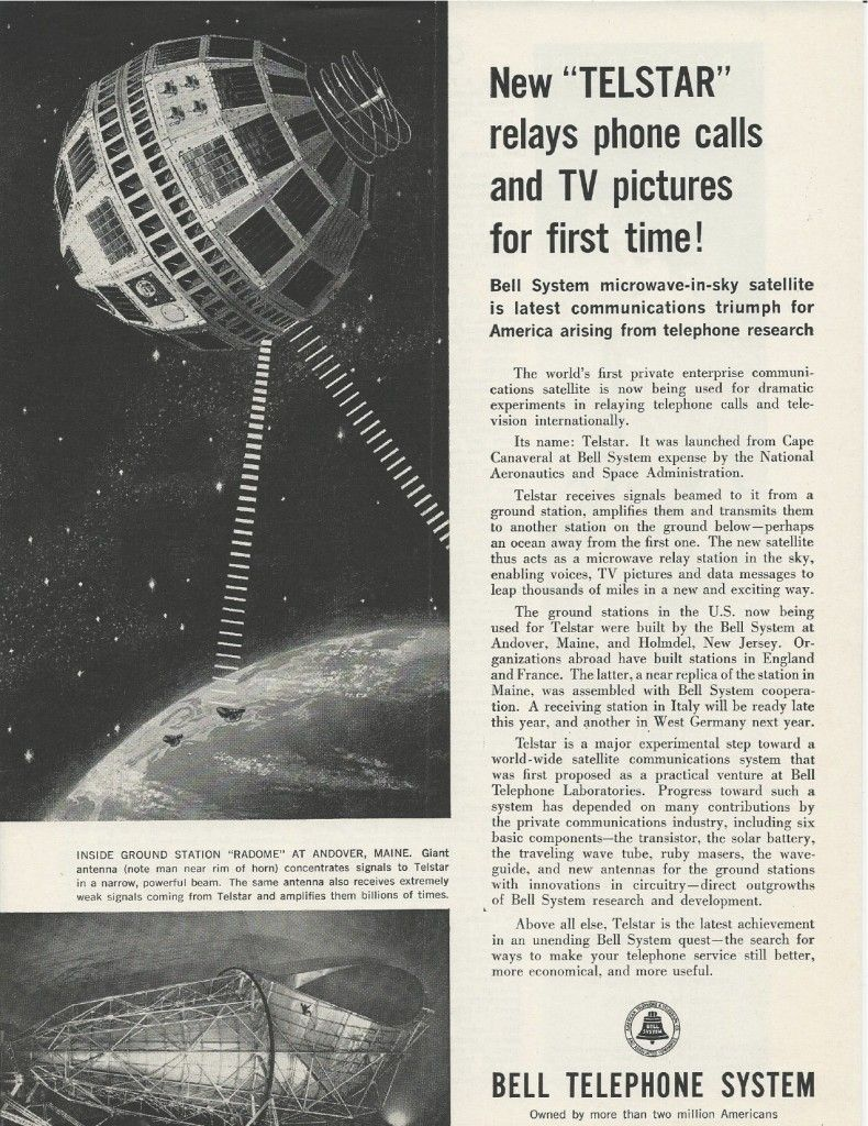 Telstar satellite made and launched in the good old U.S.A....It's the end  of the world as we knew it