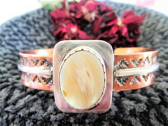 Navajo Copper Cuff Bracelet Robert Bicenti Silver Mother of