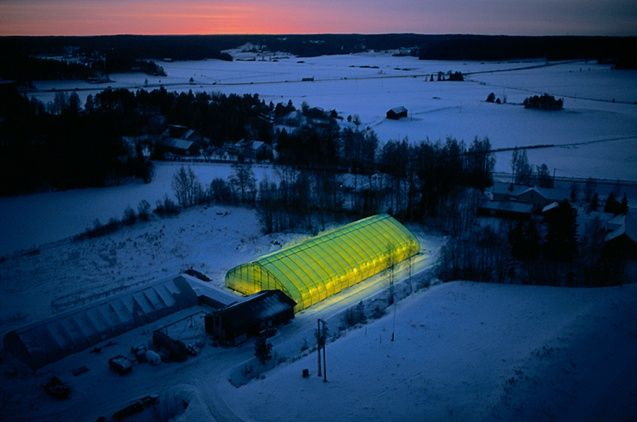 Illuminated Greenhouse near Sauvo, Varsinais-Suomi region, Finland - Yann Arthus-Bertrand