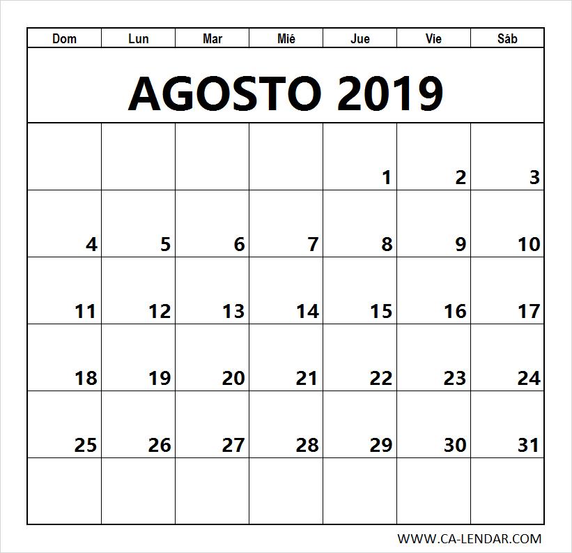 Calendario Agosto 2019 Numeros Grandes.Agosto 2019 Calendario Para Imprimir Calendario