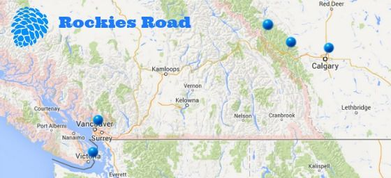 Rocky Mountains, Vancouver, Canada, map, travel, Banff, Lake ...