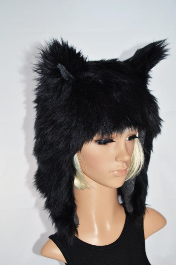 Black Wolf Hat Faux Fur Animal Hat by Morphe on Etsy 1fb21d8cd0d