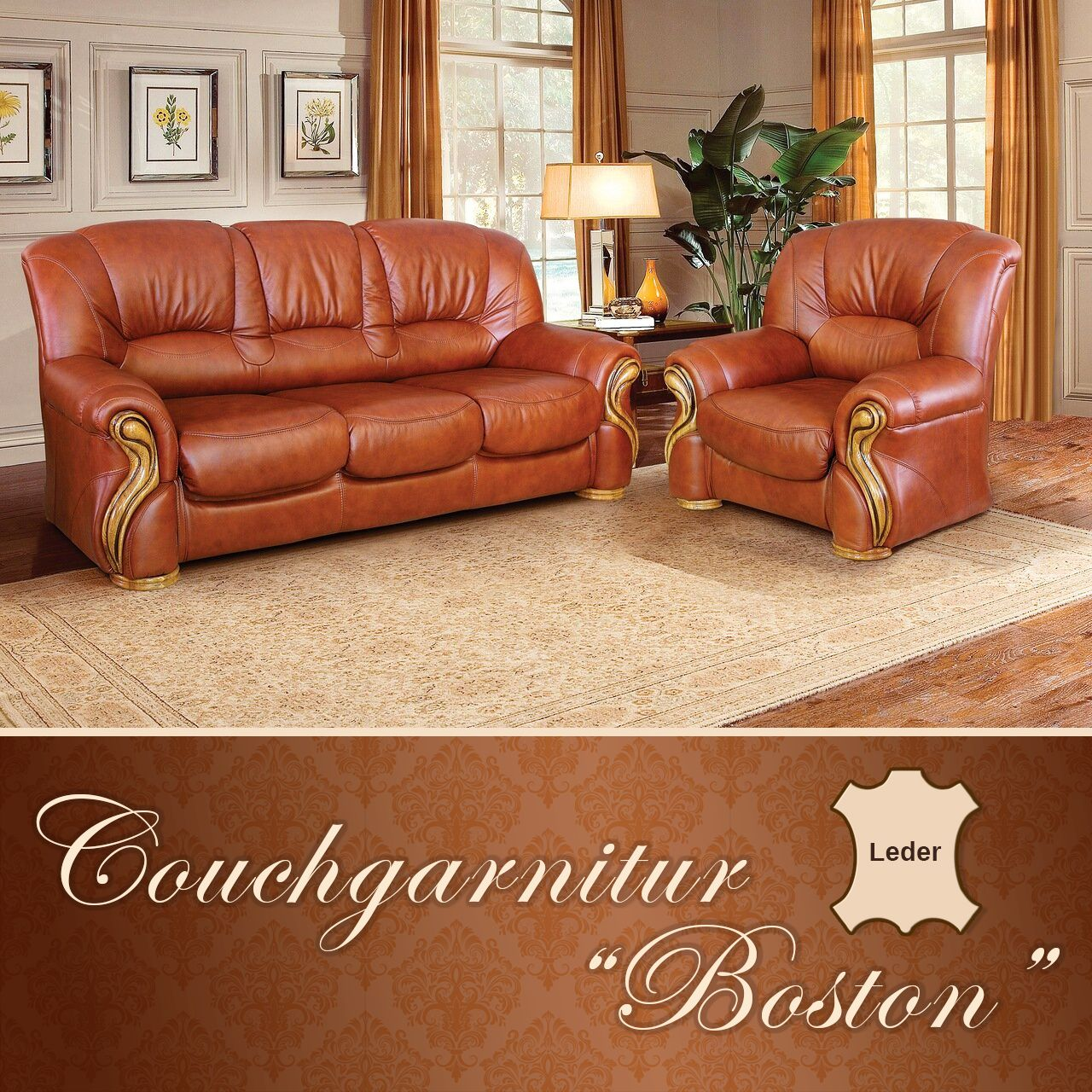 Boston Couchgarnitur Schlafcouch 2 Sessel Leder Eichenholz Couch Couchgarnitur Sessel