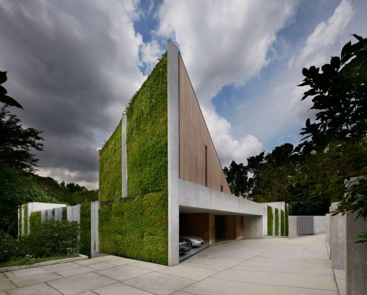 Haus aus Holz, Beton und Pflanzen Haus am See Pinterest Haus