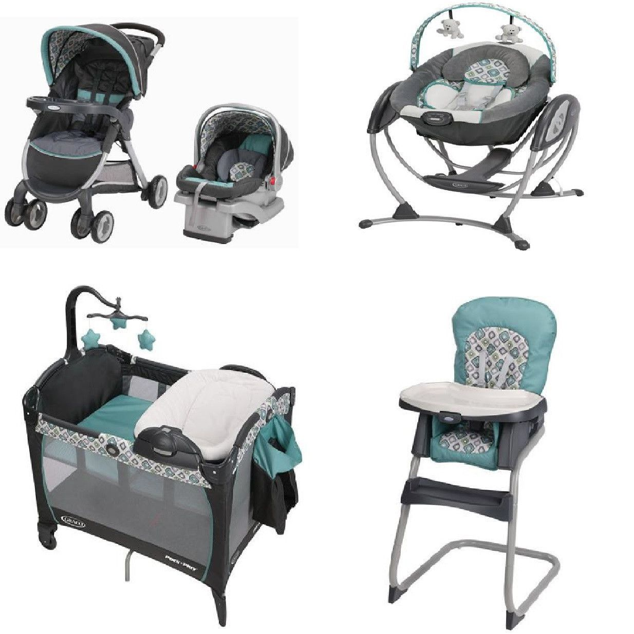 Graco high chair pink and brown - Graco Affinia Blue Complete Baby Gear Bundle Stroller Travel System Play Yard Swing