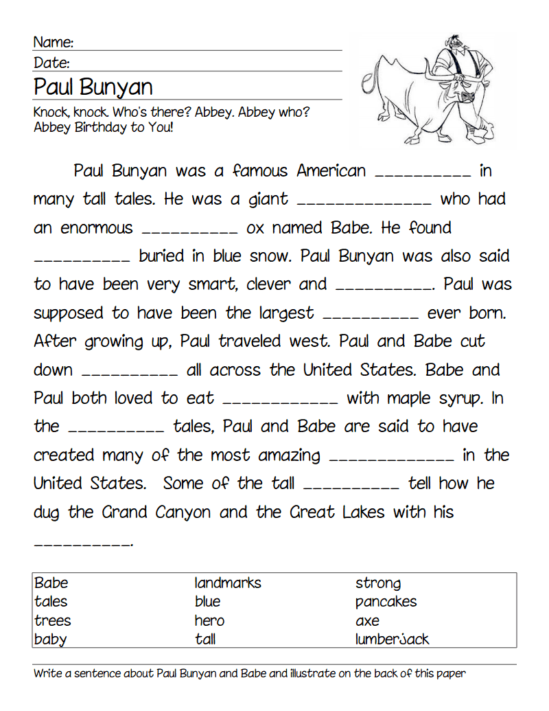 Paul Bunyan Cloze Pdf Tall Tales Tall Tales Activities