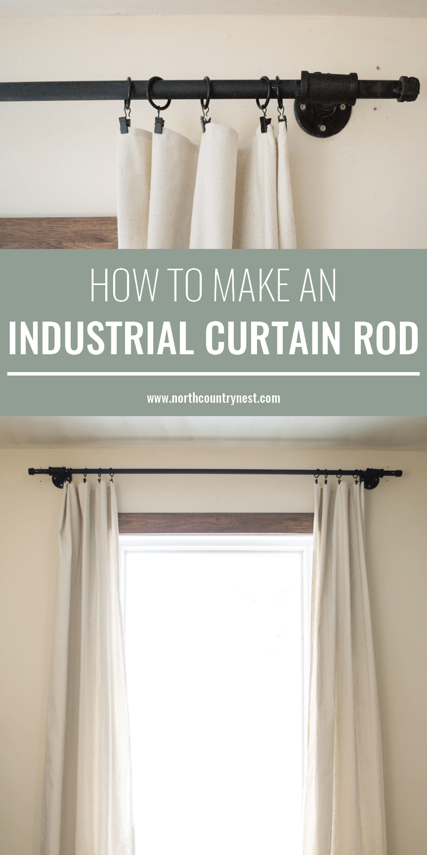 How To Make An Industrial Curtain Rod Industrial Home Design
