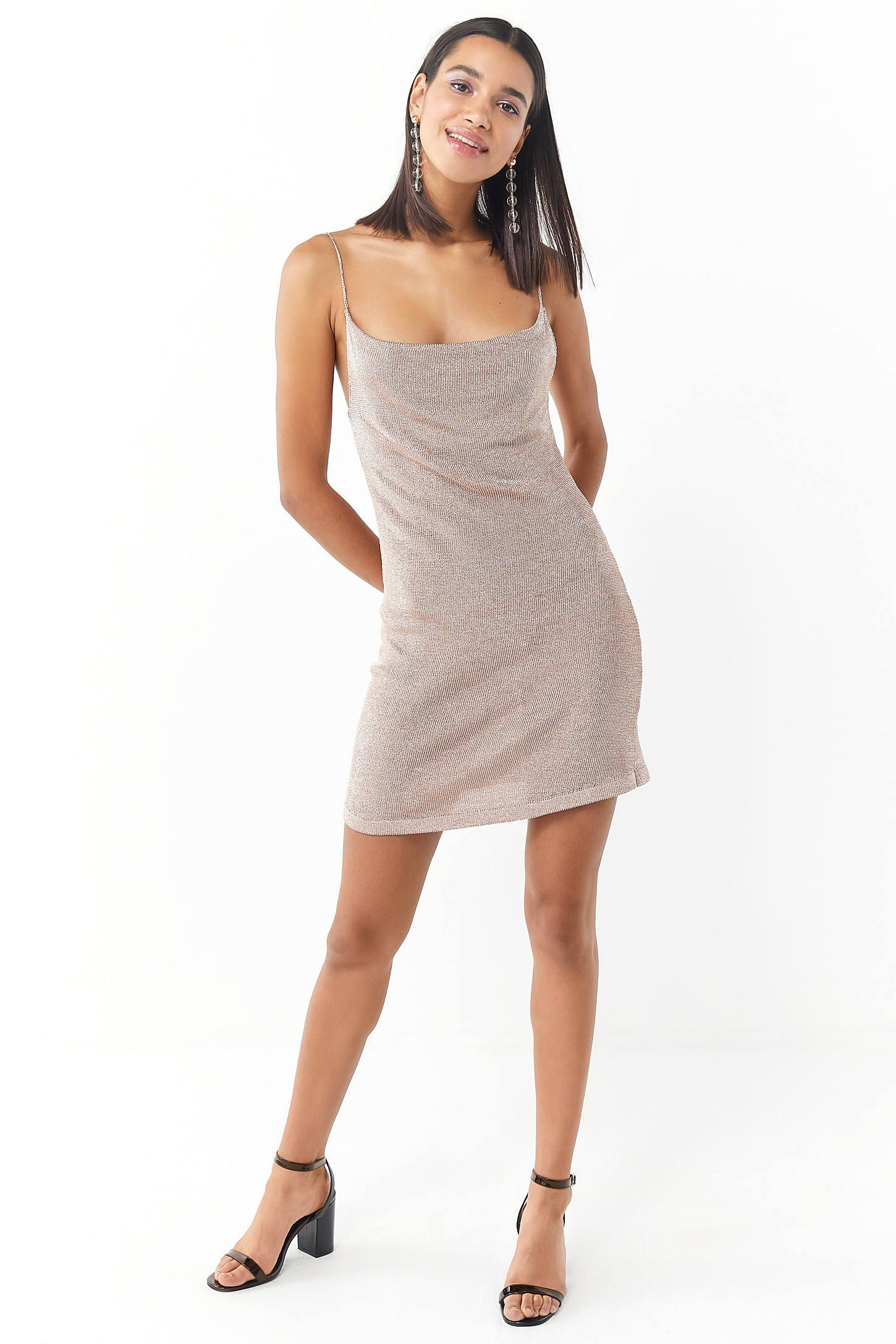 Bardot Dani Sparkly Metallic Cowl Neck Slip Dress Urban Outers