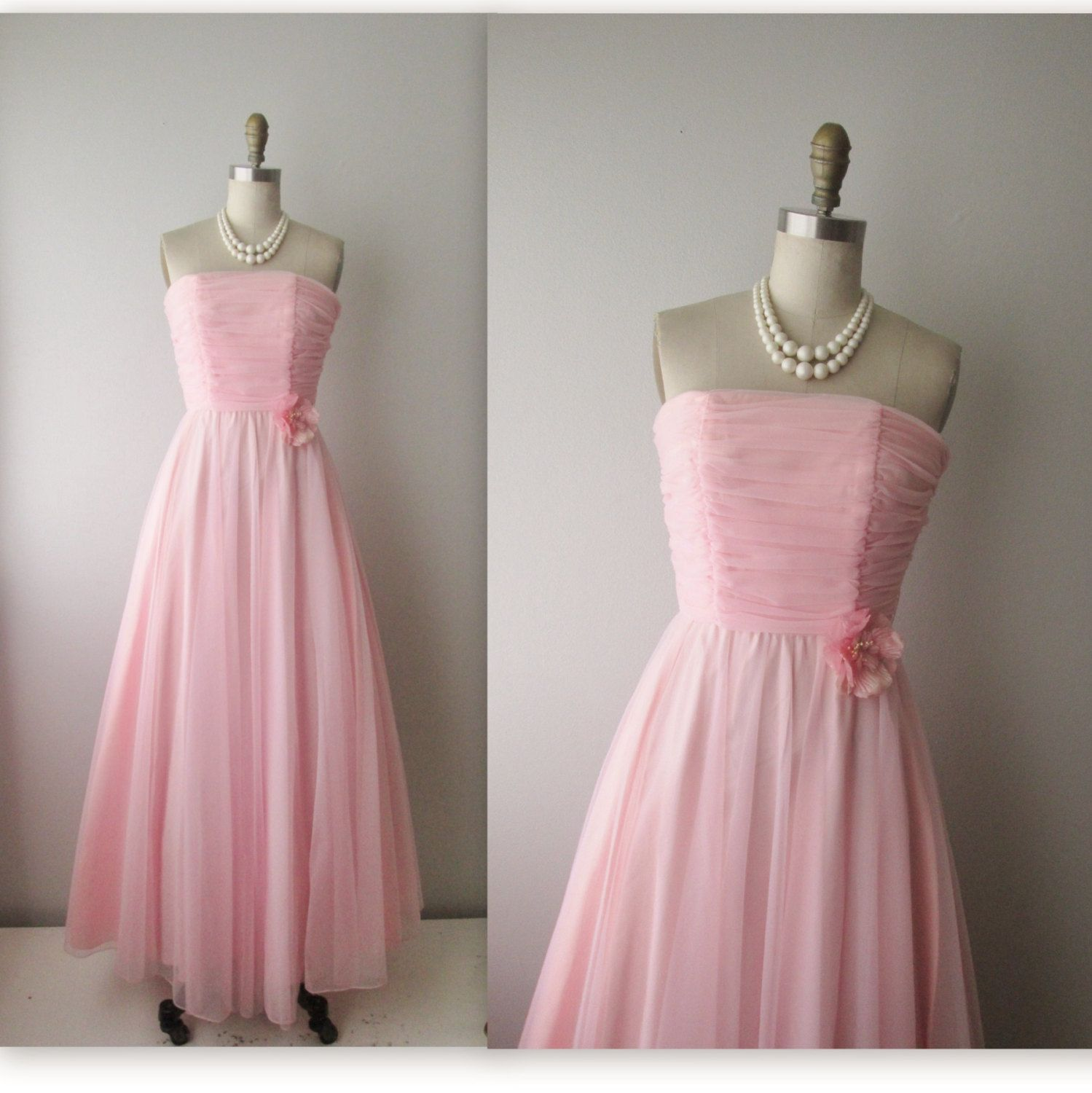60s Prom Dress // Vintage 1960s Ruched Pink Chiffon Wedding Party ...