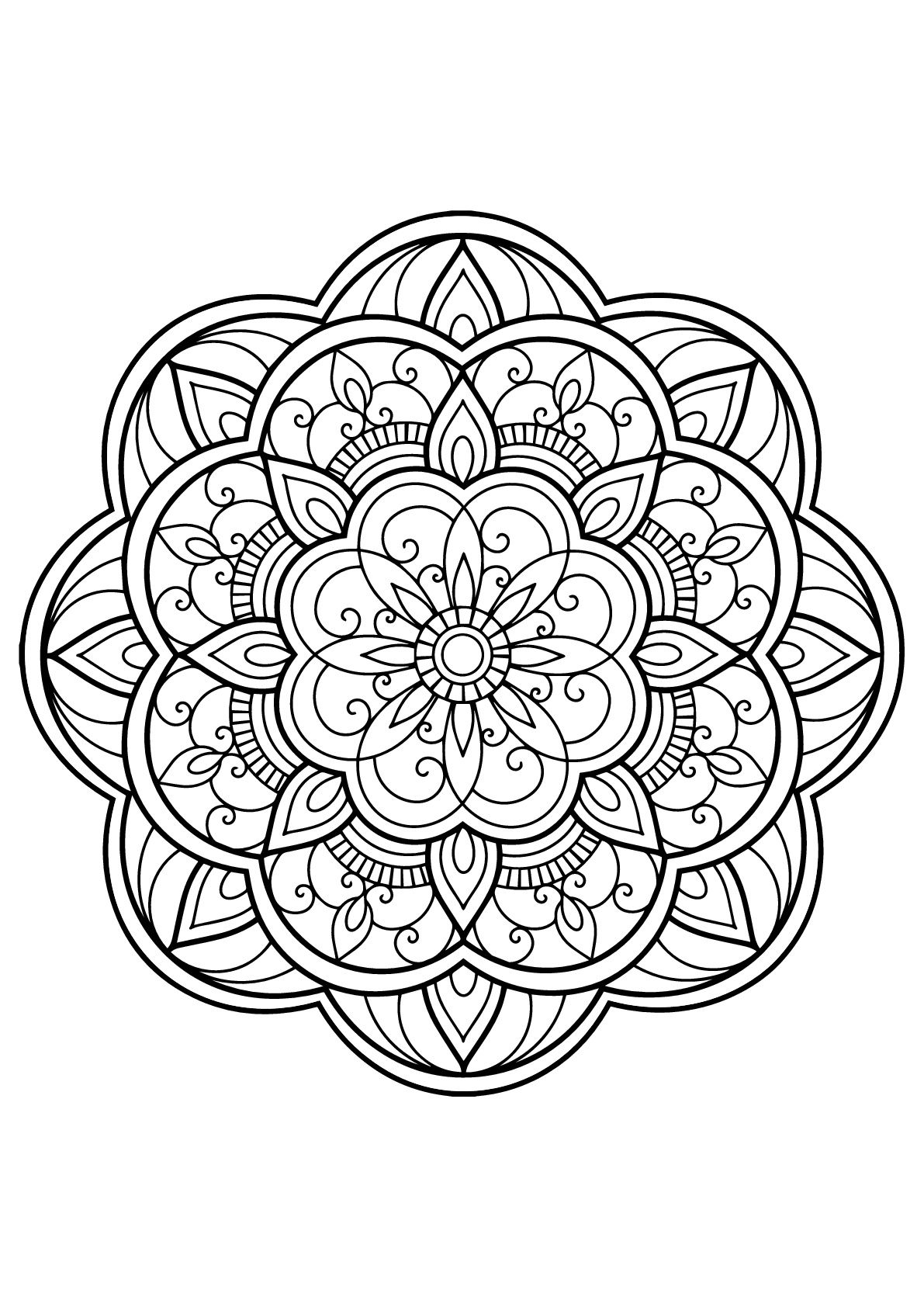 Mandala From Free Book For 14 From The Gallery Mandalas Coloring Book Pages Mandala Coloring Pages Printable Coloring Book