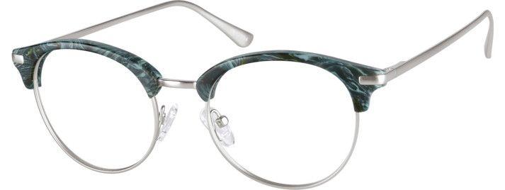 Zenni Browline Prescription Eyeglasses Green Mixed Materials 7813024 ...