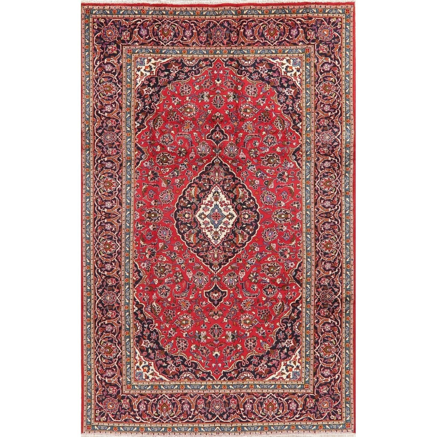 Refurbished Floral Kashan Persian Area Rug Handmade Oriental Red Carpet 6 7 X 10 4 6 7 X 10 4 Red Wool Floral Botanical Rugs Area Rugs Handmade Rugs