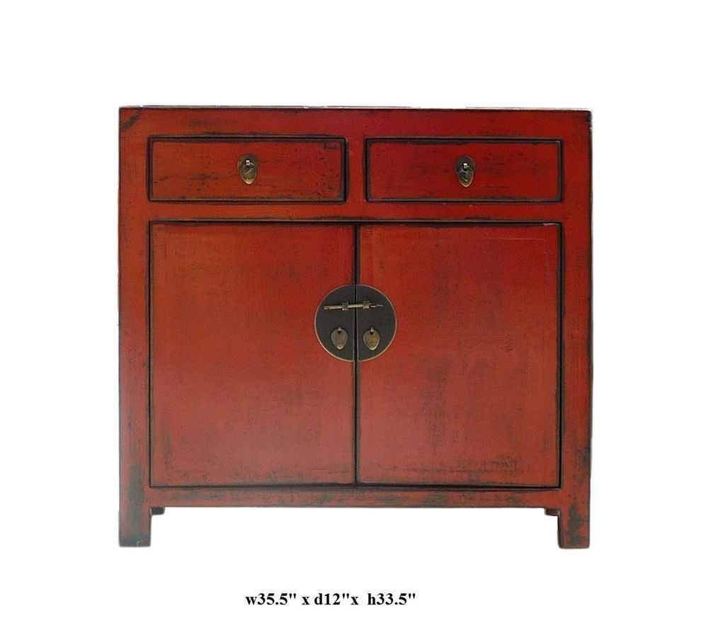 Red Rustic Lacquer Slim Side Table Cabinet Asian 650 522 9888