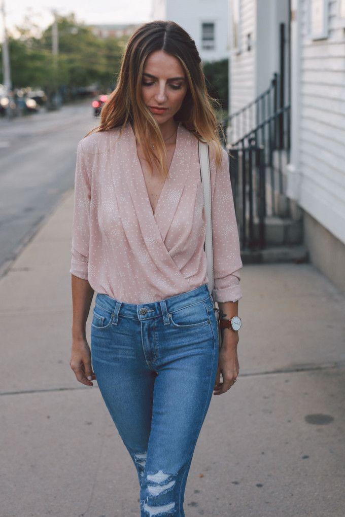 blush wrap blouse paige straight leg jeans ann taylor heels