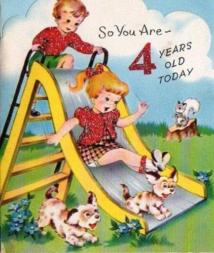 vintage 4th birthday card Sliding Board