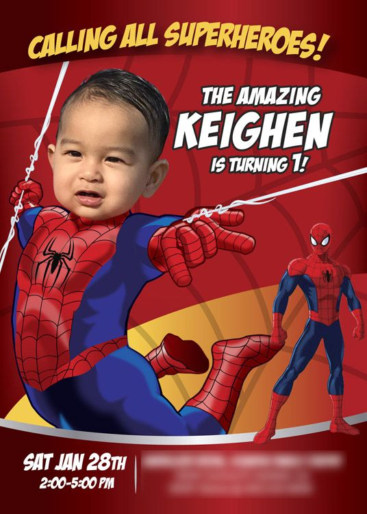 Spiderman 1st Birthday Invitation First BabySpiderman BabySpidermanInvitation Spiderman1stBirthday SpidermanFirstBday
