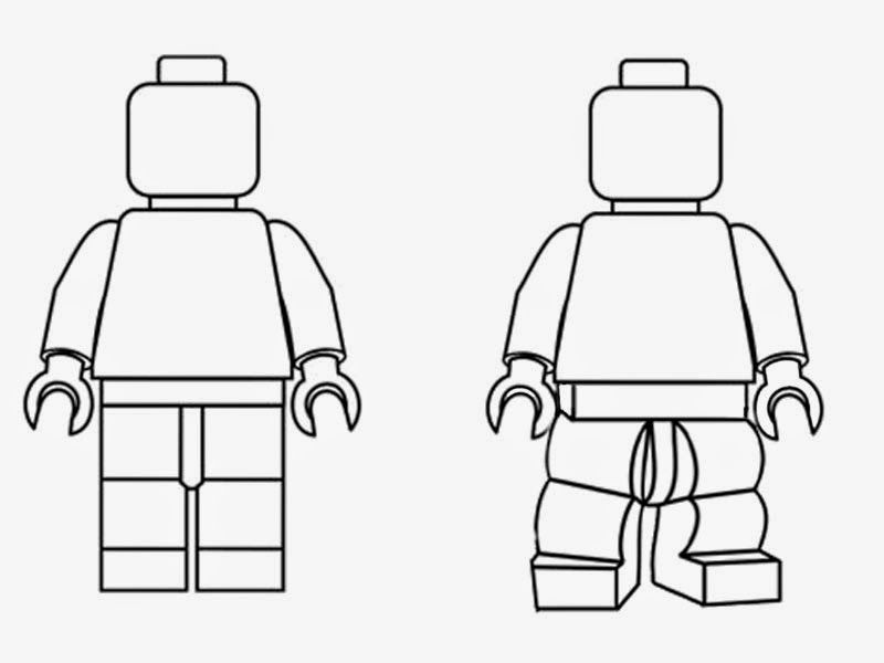 Simple Black And White Clipart LEGO Minifigures Outline Silhouette
